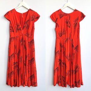 Free People orange floral midi dress